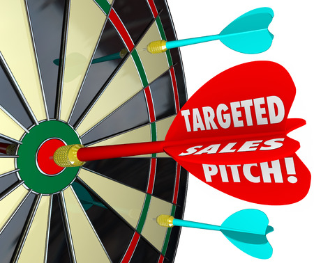 business pitch: Targeted Sales Pitch words on a dart hitting a bullseye to illustrate focusing on selling to potential customers and clients to sell your products or business