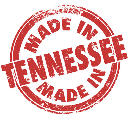 tn: Made in Tennessee words in red ink in a round stamp to show state pride in products manufactured in TN