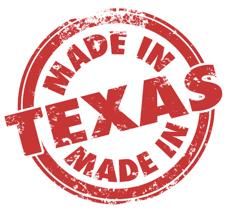 Made in Texas words in a round red stamp to show pride in products produced or manufactured in the southern state photo