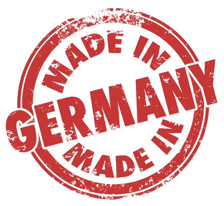 Made in Germany words in a round red stamp showing pride in products manufactured in the country known as Deutschland photo
