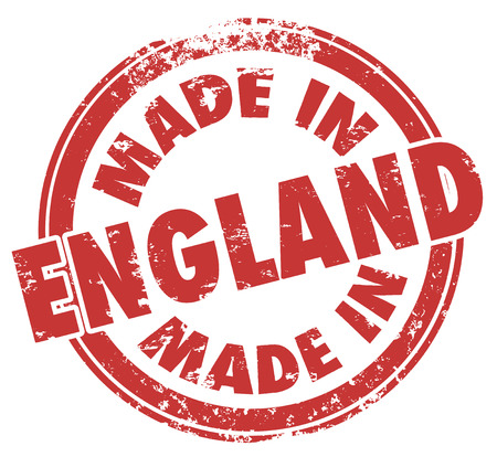 Made in England round stamp with words in red ink to show pride in products produced in the UK, United Kingdom or Great Britain photo