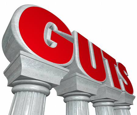 audacious: Guts word in 3d letters on marble or stone columns to illustrate strength, courage, determination, resolve and willpower
