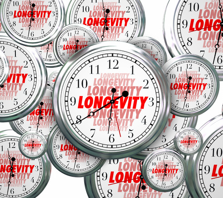 constancy: Longevity word on clock faces as time goes by to illustrate lasting and continuous experience, reliability and credibility