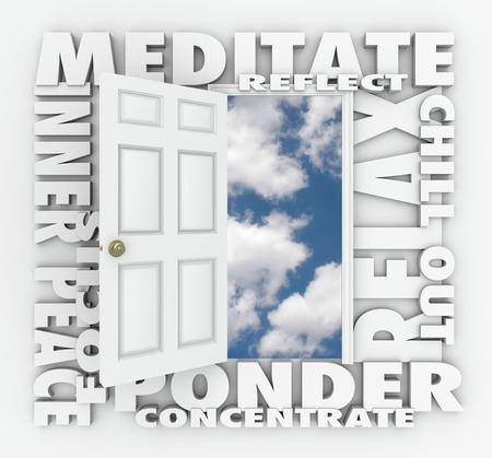 paz interior: Medita y otras palabras 3d alrededor de una puerta abierta a un cielo nublado azul incluyendo reflejar, la paz interior, el enfoque, relajarse, meditar y concentrarse Foto de archivo