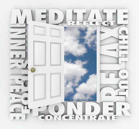 inner peace: Meditate and other 3d words around an open door to a blue cloudy sky including reflect, inner peace, focus, relax, ponder and concentrate Stock Photo