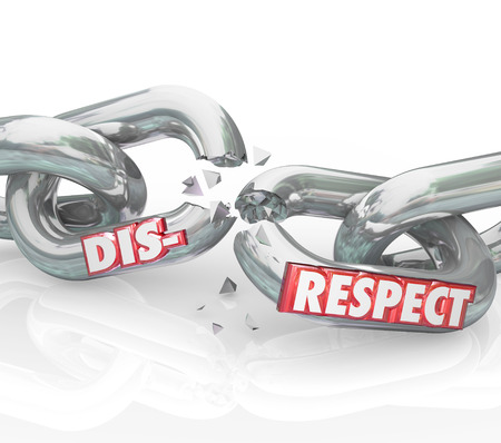 revere: Disrespect word on breaking chain links to show loss or separation from failing to show respect and honor to others Stock Photo