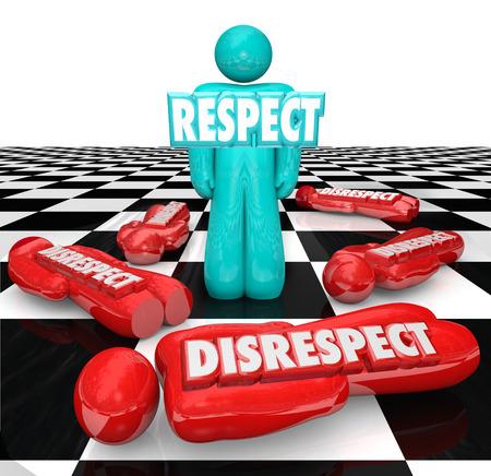 irrespeto: Respeto palabra en letras 3d en una sola persona que quedó en pie en un tablero de ajedrez como competidores que mostraron falta de respeto son derrotados Foto de archivo
