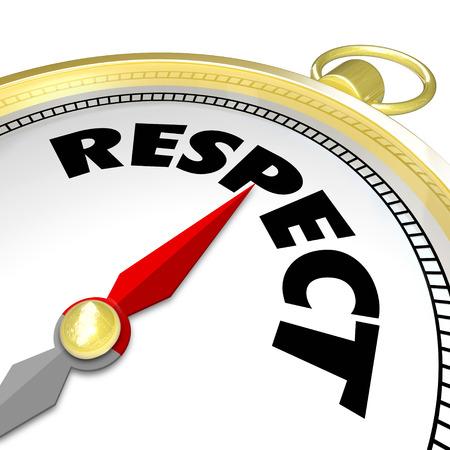 respeto: Palabra respeto en un señalador brújula dorada o le dirige en un camino para ganar una buena reputación y reverencia