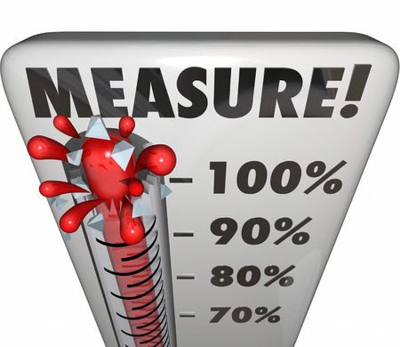 rating: Measure word on a thermometer or gauge measuring the level, rating or rising progress toward a goal Stock Photo