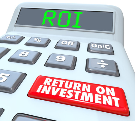 allocation: ROI and Return on Investment Words on a calculator display and its buttons to figure the costs and profits in investing in stocks, bonds or company startup
