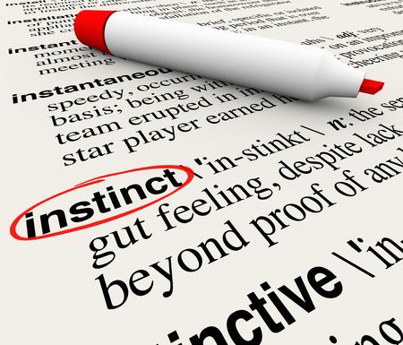 Parola Instinct cerchiata con la sua definizione in un dizionario pagina per illustrare una sensazione viscerale di là della conoscenza o fatti e informazioni