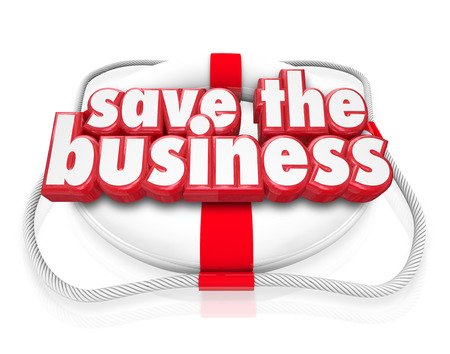salvaging: Save the Business words in red 3d letters on a life preserver to illustrate a company rescue through new plan or strategy or improved finances