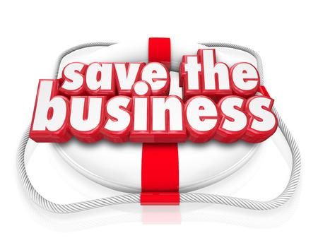 reanimować: Zapisz słowa biznesowe w czerwonym 3d litery na ratownicze do zilustrowania ratowania firmy przez nowego planu lub strategii lub poprawę finansów