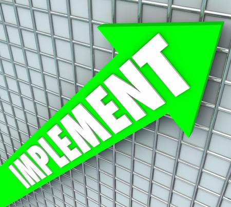 implement: Implementare parola su una freccia verde su una griglia 3D per illustrare un stategy o un piano d'azione che � stato eseguito dalla direzione