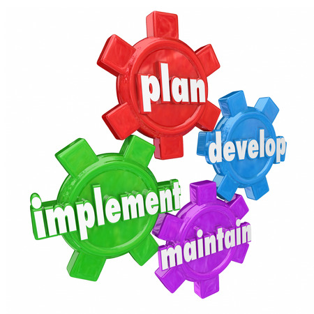 implemented: Plan, Develop, Implement and Maintain words on gears to illustrate the steps in creating and rolling out a strategy for a business, company or organization