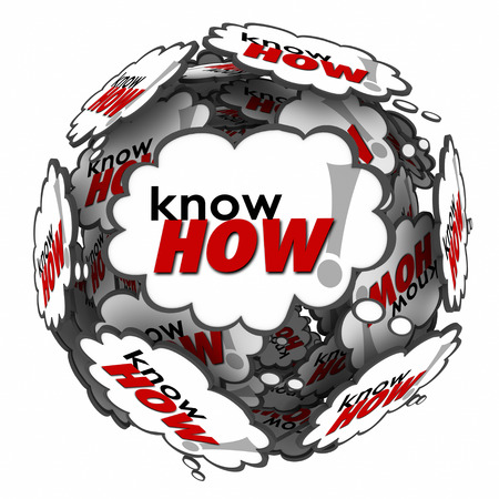 able to learn: Knowhow word in many thought clouds or bubbles in a ball or sphere to illustrate your knowledge, skills, education, training, experience and expertise