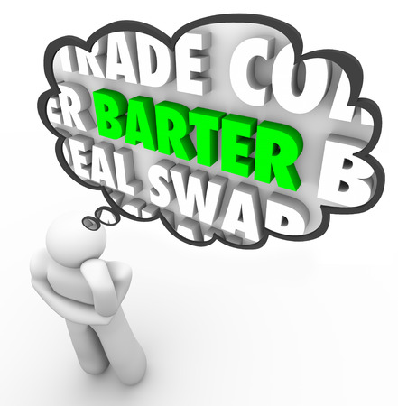 contracted: Barter word in a thought cloud to illustrate a thinker negotiating a trade, swap or other deal exchaning goods and services in fair and equal arrangement