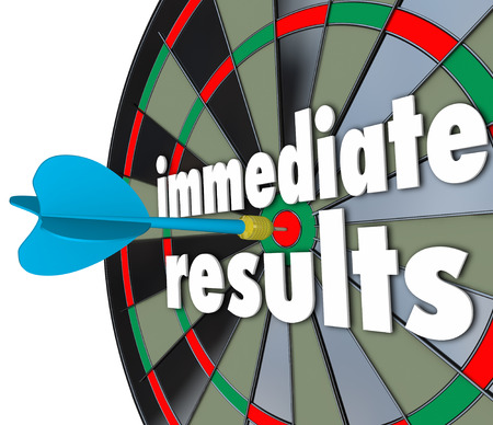 outcome: Immediate Results 3d words on a dart board to illustrate meeting a goal or outcome fast