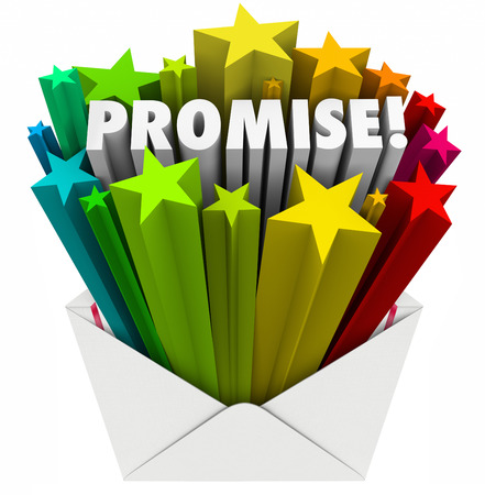 promised: Promise word in an envelope to illustrate an oath, guarantee, vow, pledge or obligation to someone