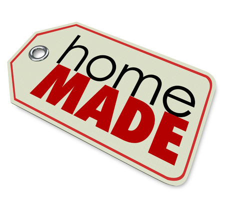 authenticity: Homemade words on price tag to advertise a hand crafted, authentic and original product for sale