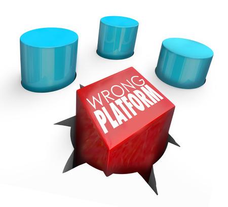 daremny: Złe Platforma słowa na placu kołku przymusowej w okrągłym otworze do zilustrowania zły wybór technologii lub aplikacji Zdjęcie Seryjne