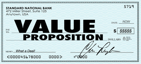 Value Proposiiton words on a check to illustrate benefits of buying products or services in a special savings offer from a business or company photo