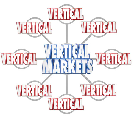 specific: Vertical Markets 3d words on grid to illustrate specific sets of businesses in similar markets or niche industries