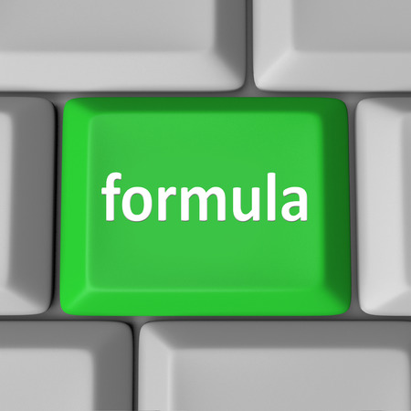 company secrets: Formula word on computer keyboard key to illustrate a solution to a problem in a spreadsheet program or other application software Stock Photo