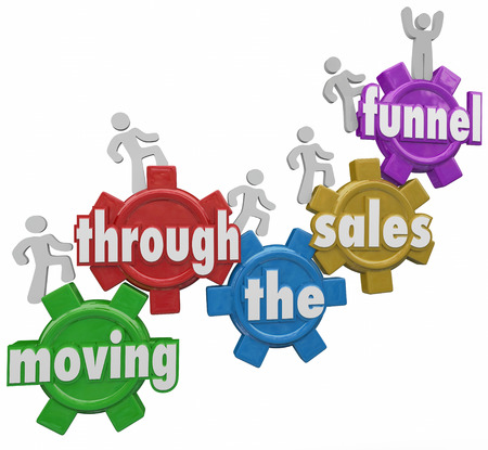 Moving Through the Sales Funnel words on gears with customers walking up to symbolize the process of buying products and service from your company Stock Photo
