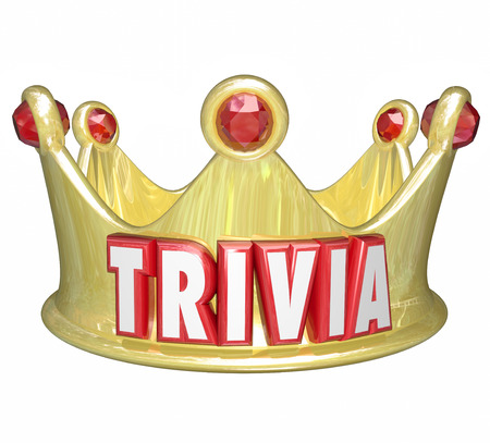 trivia: Trivia word on a gold crown for the king, queen or winner of a pop culture question competition or game Stock Photo