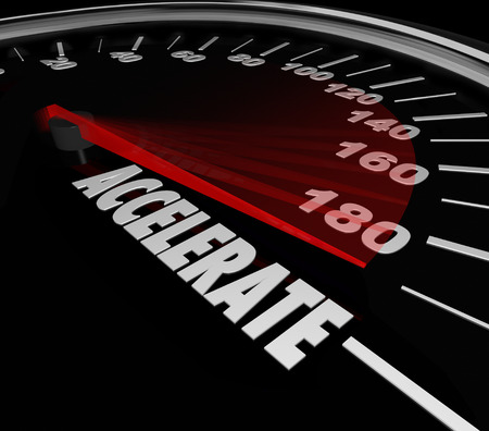 Accelerate word on a speedometer for gaining speed in a race or competition where the quickest competitor wins the game 스톡 콘텐츠