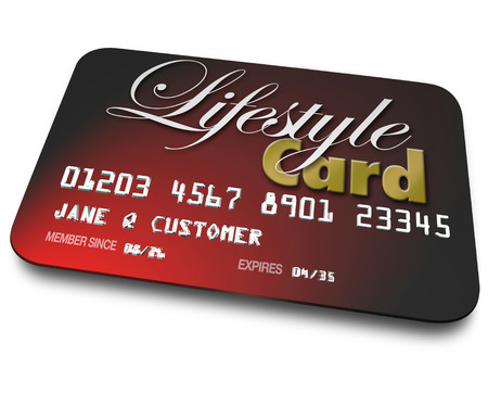loaning: Lifestyle Card on red credit card for shopping and payment for goods and services