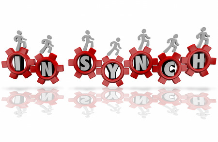 mutual: In Synch words in red gears and people working together as team in an organization toward a shared, common goal, mission or objective