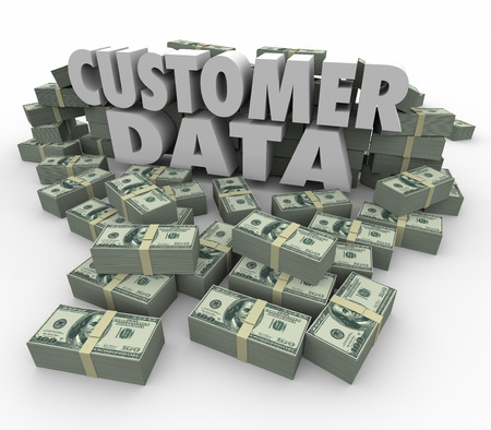 solicit: Customer Data in 3d letters and words surrounded by stacks and piles of money earned from sales and marketing to client database Stock Photo