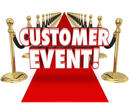 grand sale: Customer Event words in 3d letters on a red carpet inviting you to a special exclusive by invitation only party or celebration to show appreciation for your business