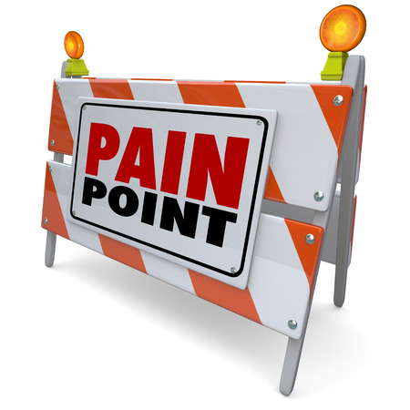 Pain Point words on road construction barrier or sign to illustrate a customer problem, need, difficulty, issue or challenge that needs a solution you can provide