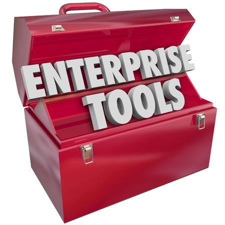 entire: Enterprise Tools 3d words in metal toolbox to illustrate software, applications or other resources for managing needs of a business, company or organization