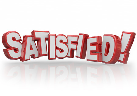 gratified: Satisfied word in red 3d letters to illustrate customer satsfaction, gratification or happy feelings toward a company, product or service Stock Photo