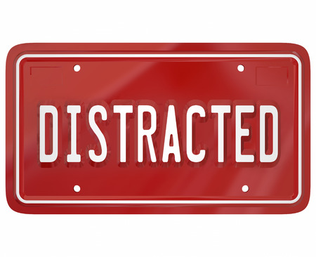 distraction: Distracted word on a red license plate to illustrate a dangerous driver who is texting or doing something diverting attention from driving on the road Stock Photo