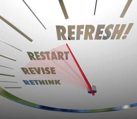 relaunch: Refresh, Revise, Restart and Rethink words on white speedometer measuring the relaunch of your product, service, company or business Stock Photo
