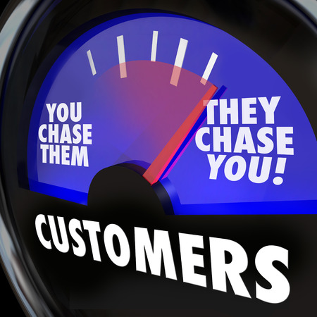 Customers word on a gauge and needle rising to They Chase You to illustrate strong or high demand for your products, services, knowledge or expertise photo