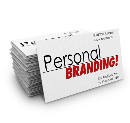 Personal Branding words on business cards to advertise your company's products or services or promote you as an expert in your field Stock Photo