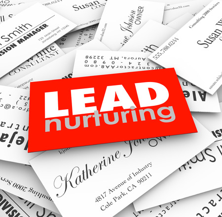 Lead Nurturing words on business cards to illustrate a sales funnel or process for managing prospects and customers