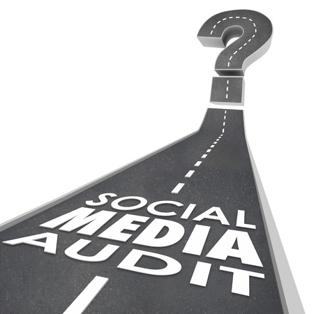 influencer: Social Media Audit words on a road to illustrate measuring or monitoring online or digital marketing campaign effectiveness