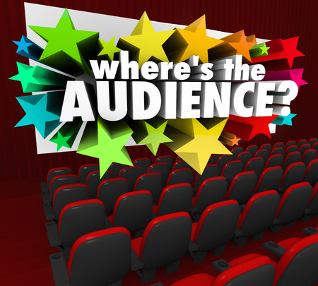 vanished: Wheres the Audience 3d words on a movie theater screen asking about your missing customers or people to watch your program or buy your products