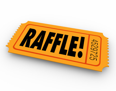 Raffle word on orange ticket for you to enter to win a drawing for a cash prize or other award Reklamní fotografie - 33078936