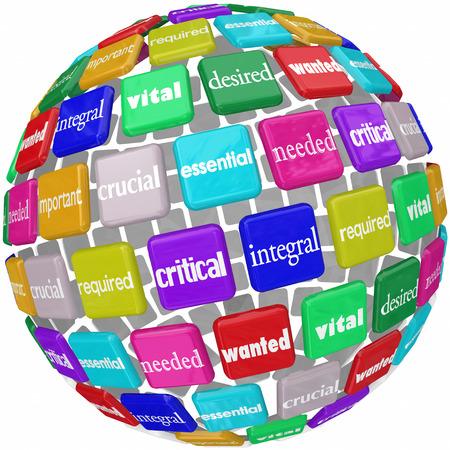 Palabra esencial en los azulejos en un globo o mundo patrón con otros términos como integral, vital, fundamental, esencial, necesario, necesario, importante y querido Foto de archivo - 33079206