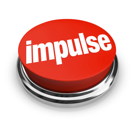 whim: Impulse word on a round, red 3d button to illustrate making an emotional, passionate choice based on feeling when shopping or reaching a decision