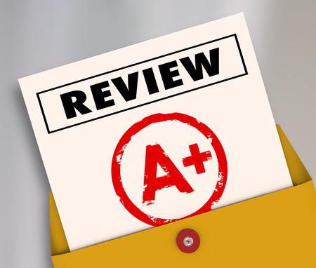 reviewer: Review word and A Plus grade on a report card to illustrate a great rating, score, evaluation or assessment for a student, employee or worker