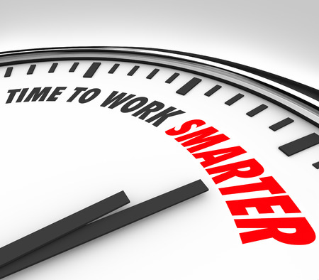 Time to Work Smarter words on a clock face to illustrate the need or advice to increase productivity and efficiency in your working habits 스톡 콘텐츠